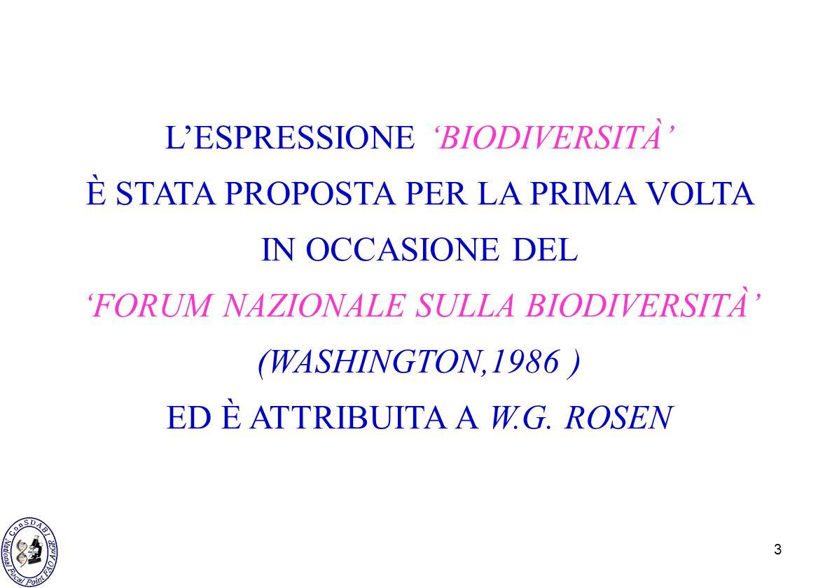 3 LESPRESSIONE BIODIVERSITÀ È STATA PROPOSTA PER LA PRIMA VOLTA IN OCCASIONE DEL FORUM NAZIONALE SULLA BIODIVERSITÀ (WASHINGTON,1986 ) ED È ATTRIBUITA