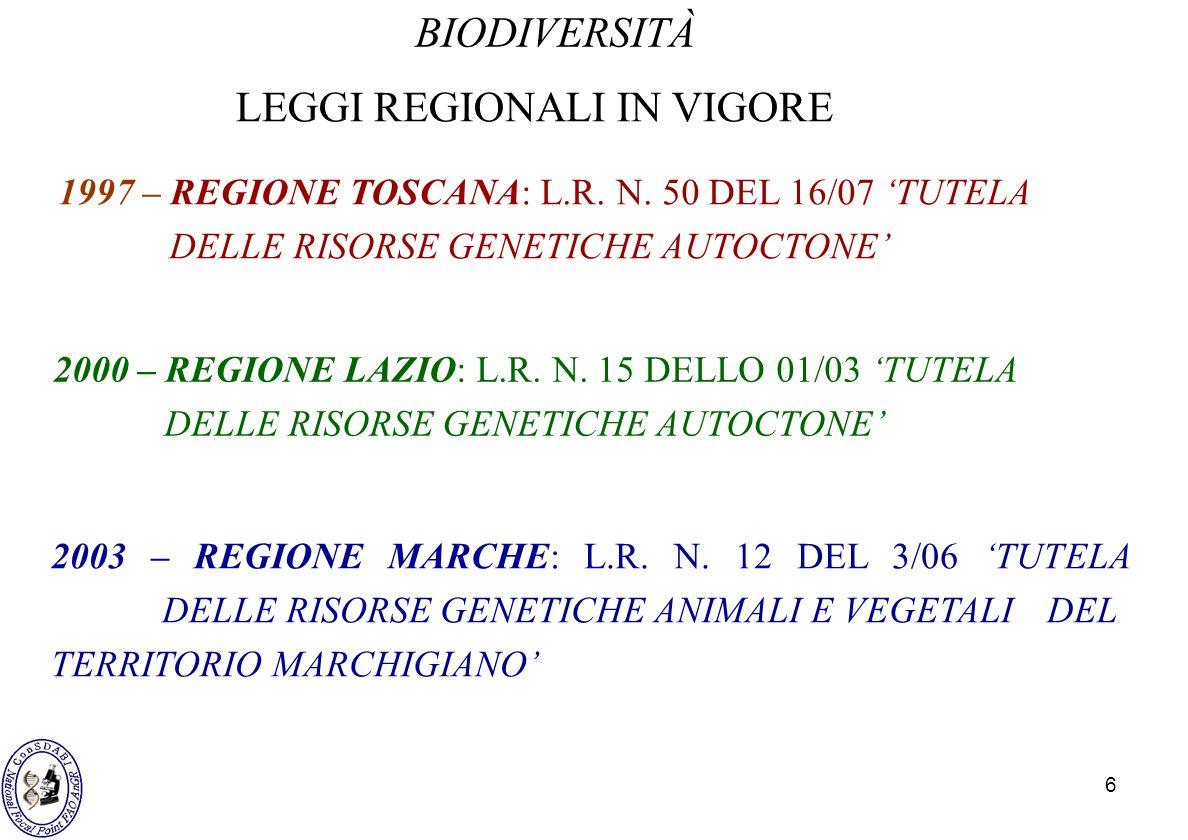 6 BIODIVERSITÀ 1997 – REGIONE TOSCANA: L.R. N. 50 DEL 16/07 TUTELA DELLE RISORSE GENETICHE AUTOCTONE LEGGI REGIONALI IN VIGORE 2000 – REGIONE LAZIO: L