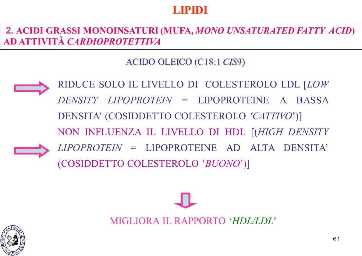 61 2. ACIDI GRASSI MONOINSATURI (MUFA, MONO UNSATURATED FATTY ACID) AD ATTIVITÀ CARDIOPROTETTIVA LIPIDI LIPIDI ACIDO OLEICO (C18:1 CIS9) ACIDO OLEICO