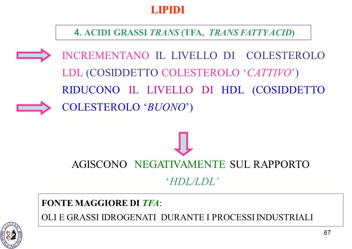 67 INCREMENTANO IL LIVELLO DI COLESTEROLO LDL (COSIDDETTO COLESTEROLO CATTIVO) RIDUCONO IL LIVELLO DI HDL (COSIDDETTO COLESTEROLO BUONO) 4. ACIDI GRAS