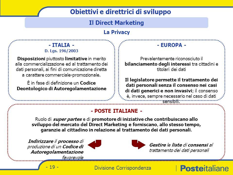 Divisione Corrispondenza - Marketing Divisione Corrispondenza - 19 - - ITALIA - D.