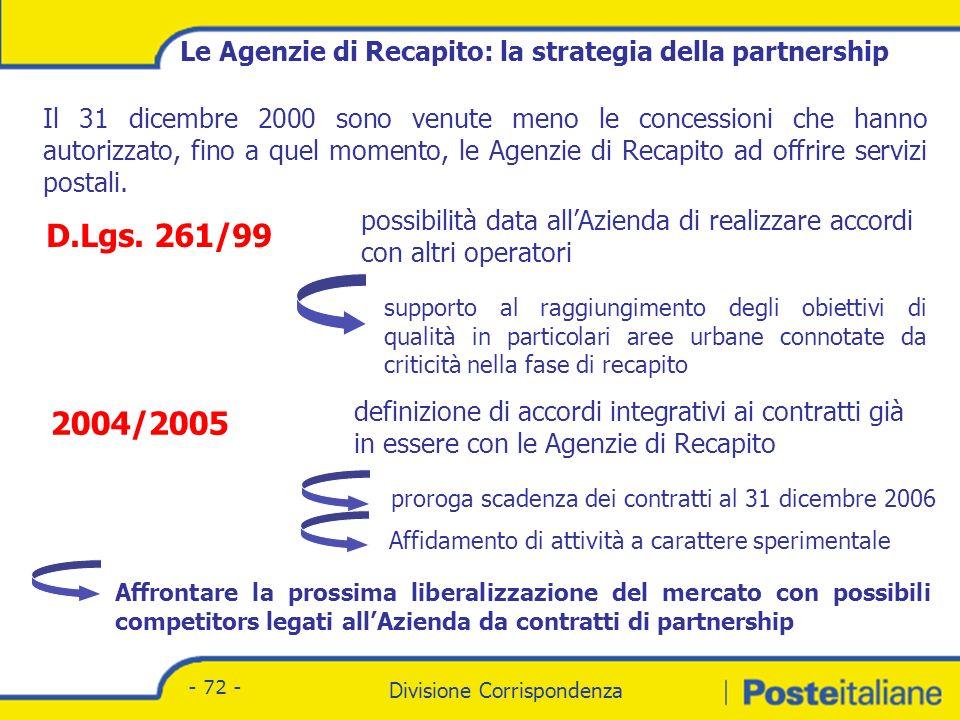Divisione Corrispondenza - Marketing Divisione Corrispondenza - 72 - Il 31 dicembre 2000 sono venute meno le concessioni che hanno autorizzato, fino a quel momento, le Agenzie di Recapito ad offrire servizi postali.