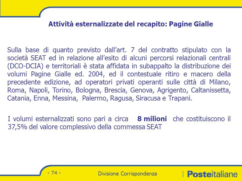 Divisione Corrispondenza - Marketing Divisione Corrispondenza - 74 - Sulla base di quanto previsto dallart.