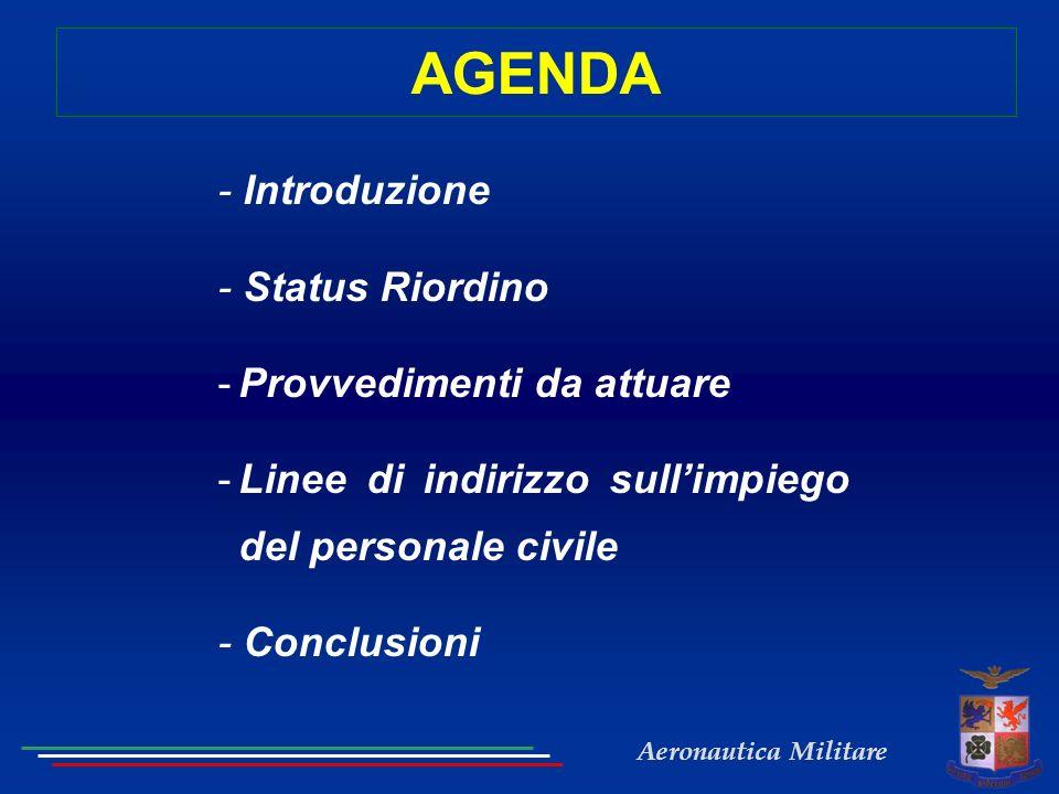 Aeronautica Militare AGENDA - Introduzione - Status Riordino -Provvedimenti da attuare -Linee di indirizzo sullimpiego del personale civile - Conclusi