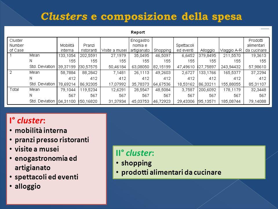 Clusters e composizione della spesa I° cluster: mobilità interna pranzi presso ristoranti visite a musei enogastronomia ed artigianato spettacoli ed eventi alloggio II° cluster: shopping prodotti alimentari da cucinare