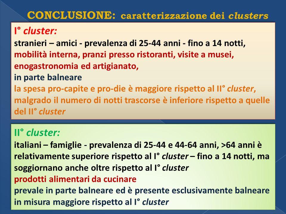 CONCLUSIONE: caratterizzazione dei clusters I° cluster: stranieri – amici - prevalenza di 25-44 anni - fino a 14 notti, mobilità interna, pranzi presso ristoranti, visite a musei, enogastronomia ed artigianato, in parte balneare la spesa pro-capite e pro-die è maggiore rispetto al II° cluster, malgrado il numero di notti trascorse è inferiore rispetto a quelle del II° cluster I° cluster: stranieri – amici - prevalenza di 25-44 anni - fino a 14 notti, mobilità interna, pranzi presso ristoranti, visite a musei, enogastronomia ed artigianato, in parte balneare la spesa pro-capite e pro-die è maggiore rispetto al II° cluster, malgrado il numero di notti trascorse è inferiore rispetto a quelle del II° cluster II° cluster: italiani – famiglie - prevalenza di 25-44 e 44-64 anni, >64 anni è relativamente superiore rispetto al I° cluster – fino a 14 notti, ma soggiornano anche oltre rispetto al I° cluster prodotti alimentari da cucinare prevale in parte balneare ed è presente esclusivamente balneare in misura maggiore rispetto al I° cluster II° cluster: italiani – famiglie - prevalenza di 25-44 e 44-64 anni, >64 anni è relativamente superiore rispetto al I° cluster – fino a 14 notti, ma soggiornano anche oltre rispetto al I° cluster prodotti alimentari da cucinare prevale in parte balneare ed è presente esclusivamente balneare in misura maggiore rispetto al I° cluster