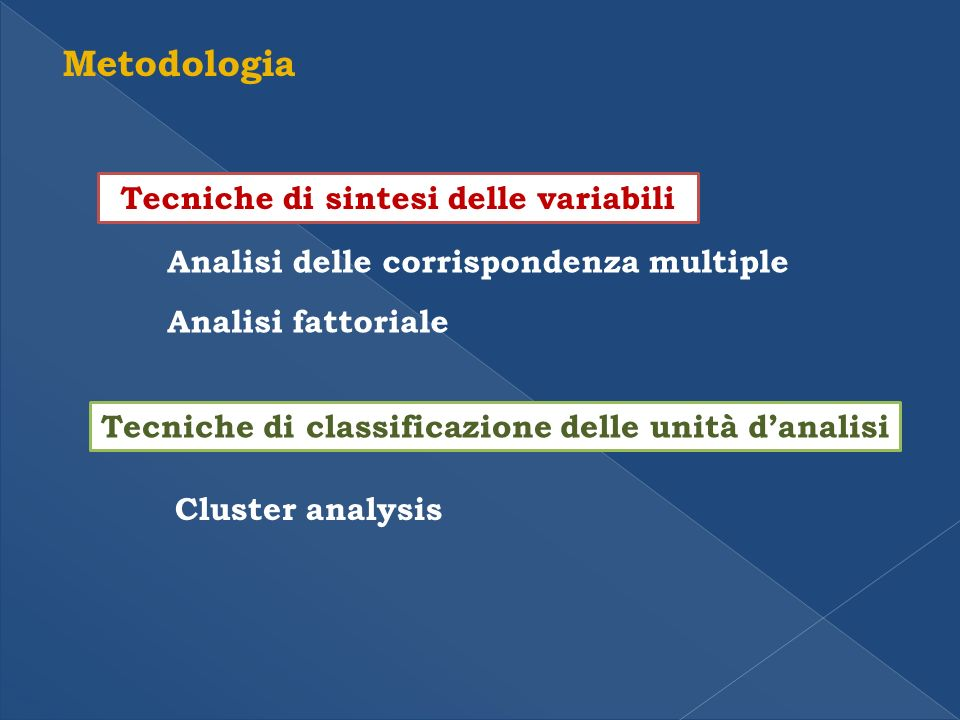 Metodologia Tecniche di sintesi delle variabili Analisi delle corrispondenza multiple Analisi fattoriale Tecniche di classificazione delle unità danalisi Cluster analysis