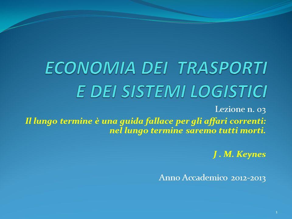 Lezione n. 03 Il lungo termine è una guida fallace per gli affari correnti: nel lungo termine saremo tutti morti. J. M. Keynes Anno Accademico 2012-20