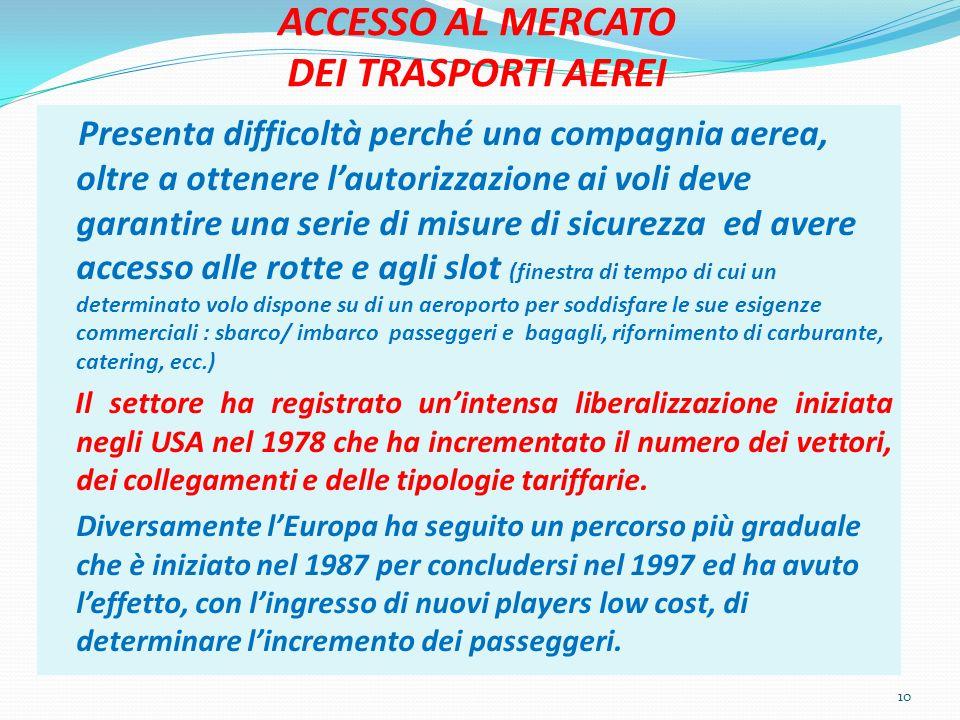 ACCESSO AL MERCATO DEI TRASPORTI AEREI Presenta difficoltà perché una compagnia aerea, oltre a ottenere lautorizzazione ai voli deve garantire una ser