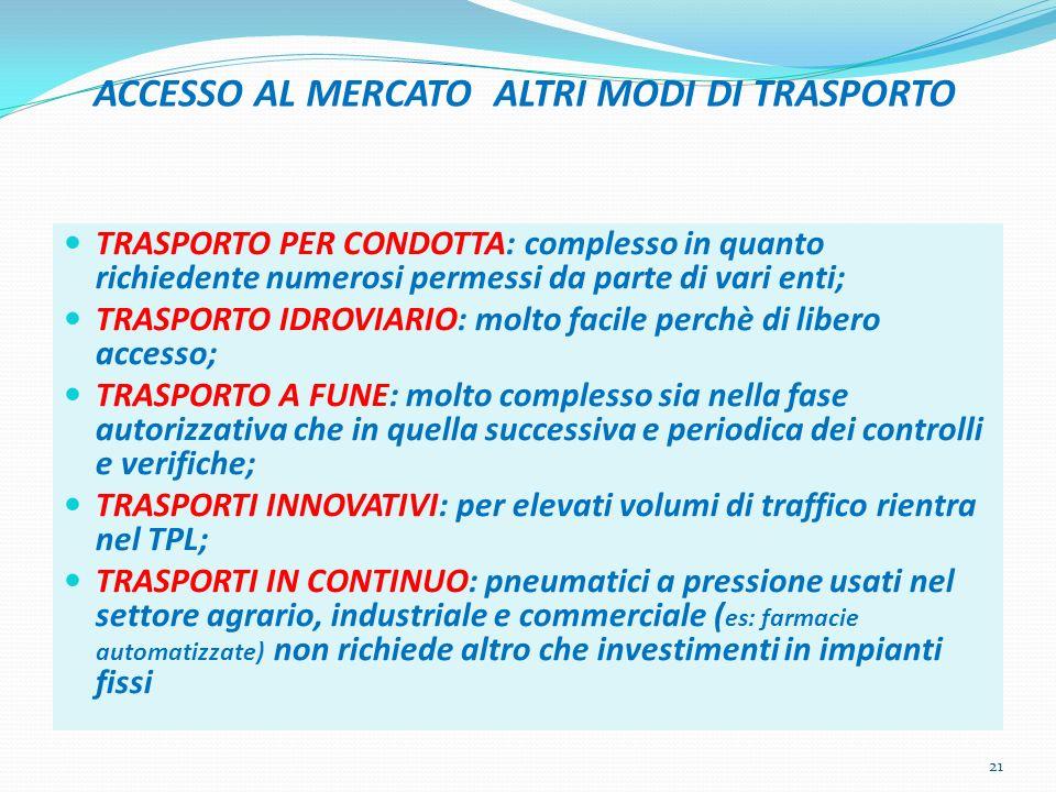 ACCESSO AL MERCATO ALTRI MODI DI TRASPORTO TRASPORTO PER CONDOTTA: complesso in quanto richiedente numerosi permessi da parte di vari enti; TRASPORTO