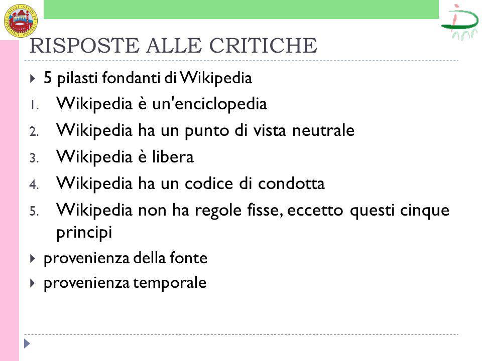 RISPOSTE ALLE CRITICHE 5 pilasti fondanti di Wikipedia 1.