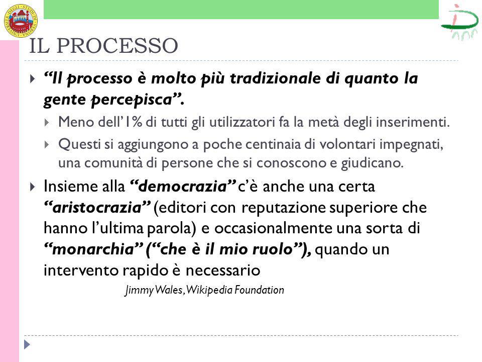 IL PROCESSO Il processo è molto più tradizionale di quanto la gente percepisca.