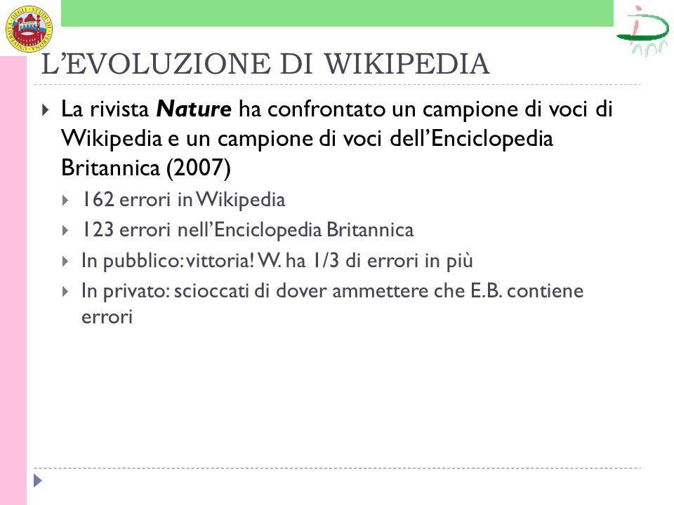 LEVOLUZIONE DI WIKIPEDIA La rivista Nature ha confrontato un campione di voci di Wikipedia e un campione di voci dellEnciclopedia Britannica (2007) 162 errori in Wikipedia 123 errori nellEnciclopedia Britannica In pubblico: vittoria.