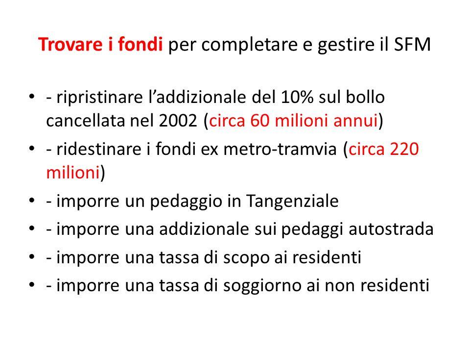 Trovare i fondi per completare e gestire il SFM - ripristinare laddizionale del 10% sul bollo cancellata nel 2002 (circa 60 milioni annui) - ridestina