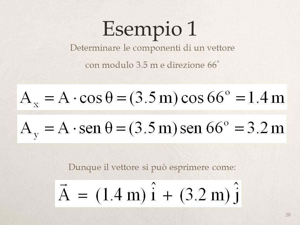 20 Esempio 1 Determinare le componenti di un vettore con modulo 3.5 m e direzione 66 ° Dunque il vettore si può esprimere come: