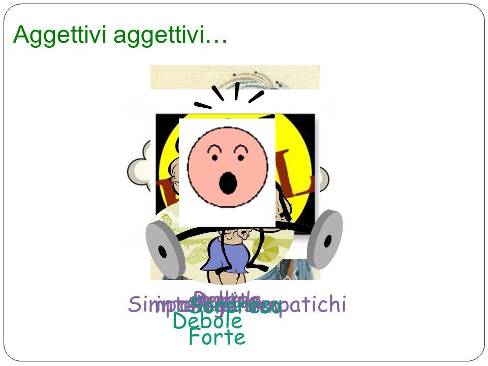 Aggettivi aggettivi… BellaBrutta Simpatico/ simpatichiantipaticointelligente stupido Forte Debole Sorpreso