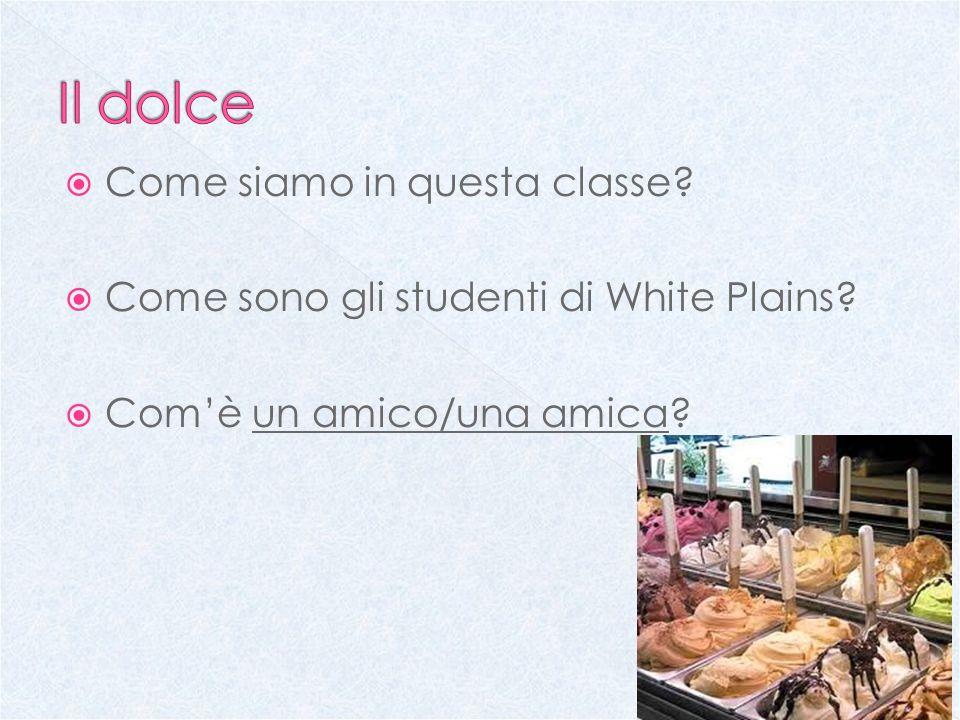 Come siamo in questa classe? Come sono gli studenti di White Plains? Comè un amico/una amica?