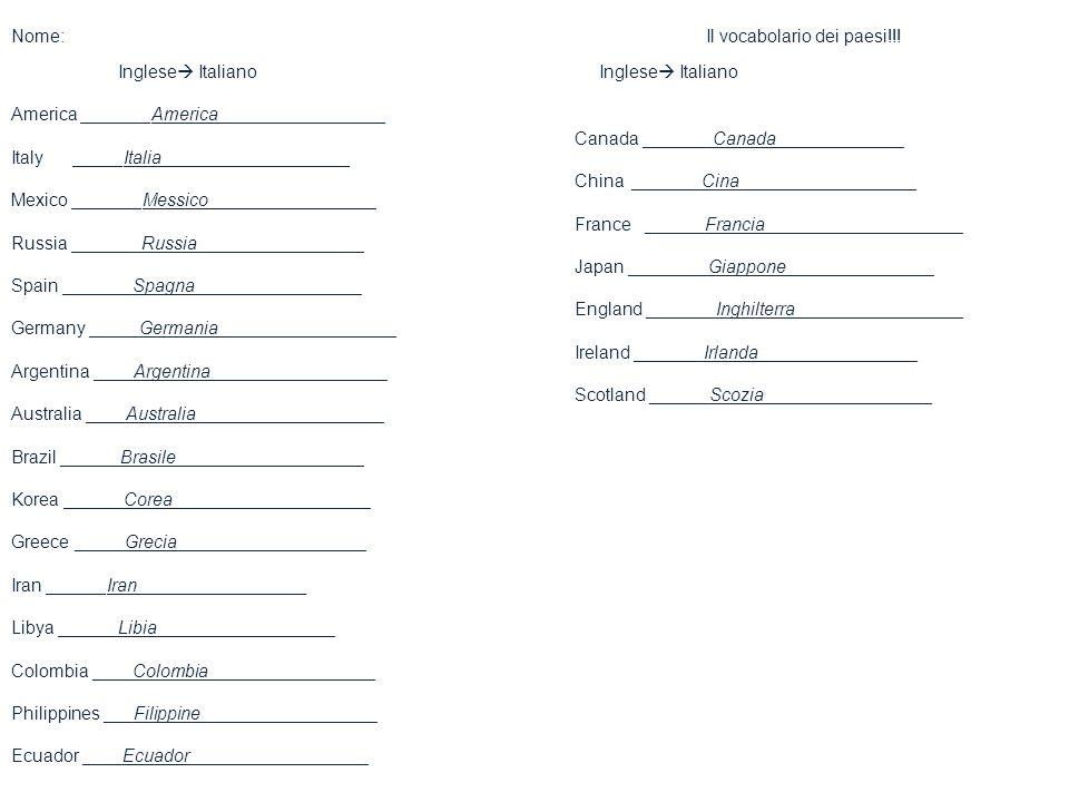 Nome: La data: Nome:Il vocabolario dei paesi!!! Inglese ItalianoInglese Italiano America _______America_________________ Italy _____Italia____________