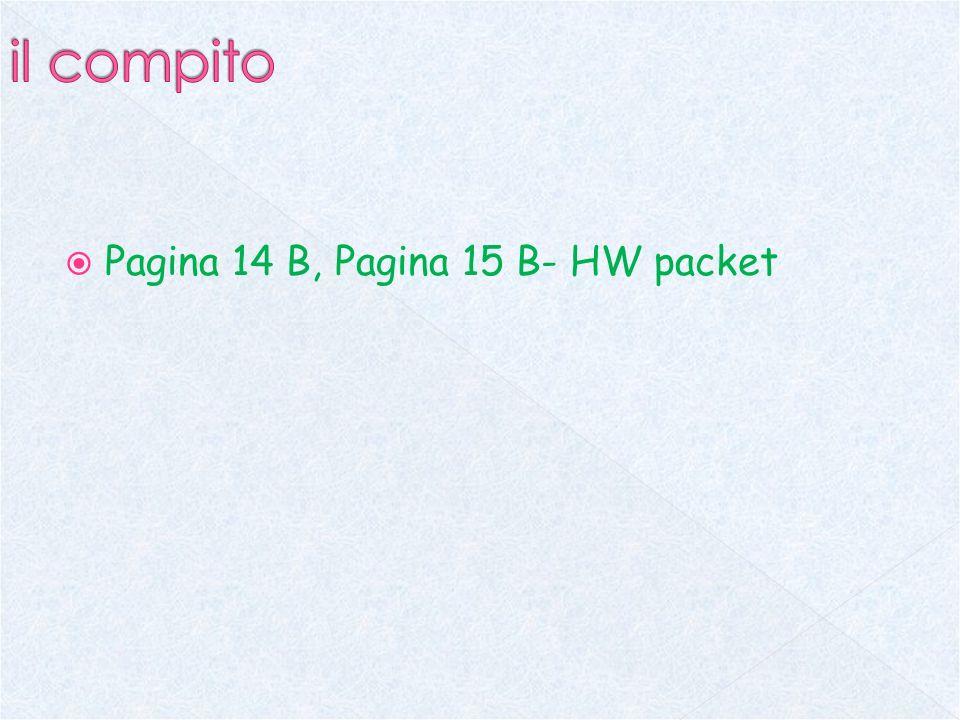 Pagina 14 B, Pagina 15 B- HW packet