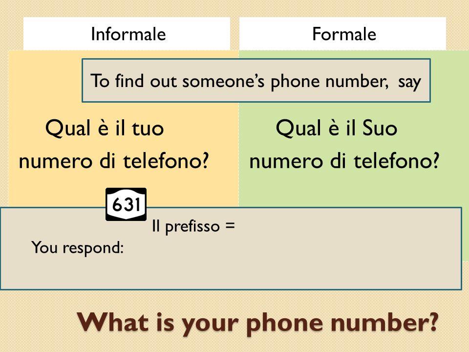 What is your phone number? InformaleFormale Qual è il tuo numero di telefono? Qual è il Suo numero di telefono? To find out someones phone number, say