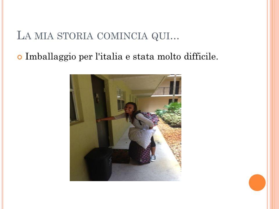 L A MIA STORIA COMINCIA QUI... Imballaggio per l italia e stata molto difficile.
