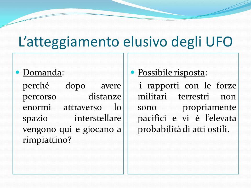 Latteggiamento elusivo degli UFO Domanda: perché dopo avere percorso distanze enormi attraverso lo spazio interstellare vengono qui e giocano a rimpiattino.