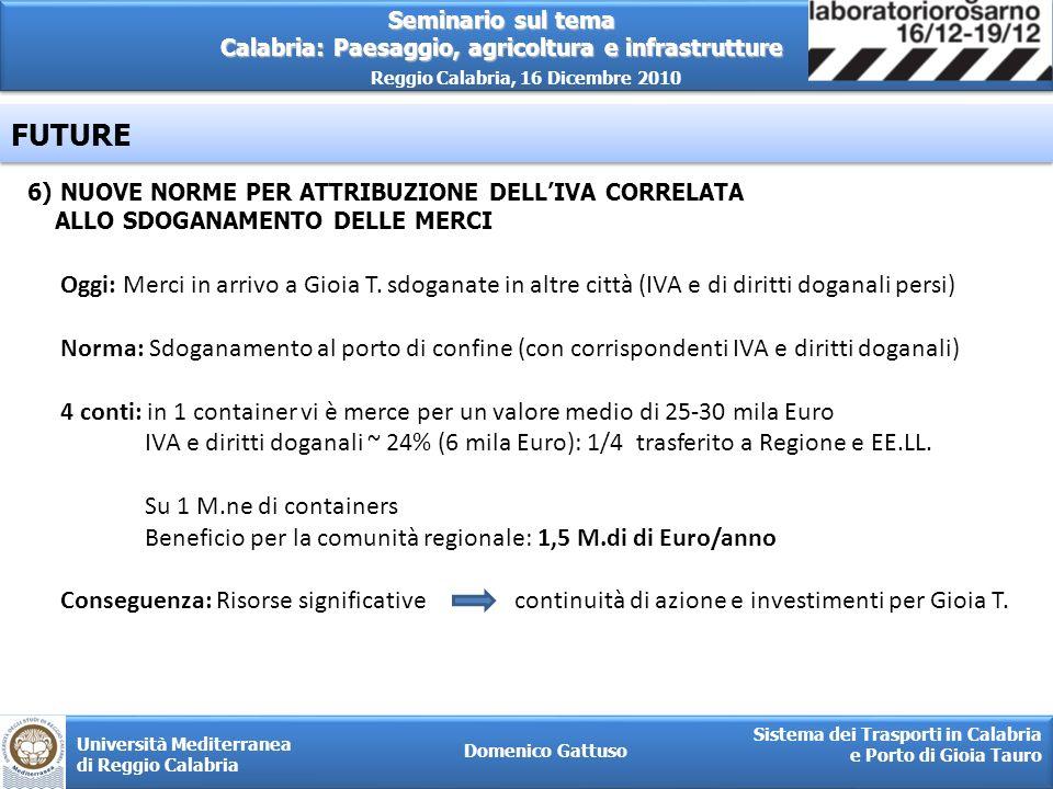 Seminario sul tema Calabria: Paesaggio, agricoltura e infrastrutture Reggio Calabria, 16 Dicembre 2010 Domenico Gattuso Sistema dei Trasporti in Calab