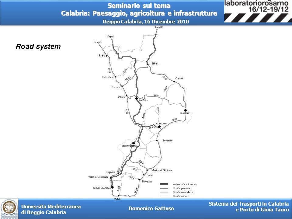 Seminario sul tema Calabria: Paesaggio, agricoltura e infrastrutture Reggio Calabria, 16 Dicembre 2010 Domenico Gattuso Sistema dei Trasporti in Calabria e Porto di Gioia Tauro Università Mediterranea di Reggio Calabria TECHNICAL FEATURES OF THE PORT Total surface (mq)8.832.000 Port surface(mq)3.500.000 Water surface (mq)1.732.000 Industrial area surface (mq)3.600.000 Diameter expansion bassin (m)750 Diametro turning basin(m)450 Channel width (m)220 Container berth length (m)3.395 Stock area terminal container (mq)1.700.000 Reefer container plugs2.350 Sea bed depth (m) Berth depth (400 m)18 Central channel(1.100 m)17 North channel(1.895 m)14,5 Ganty cranes27 Mega post-Panamax (outreach 62m)9 Super post-Panamax (outreach 48-53m)18