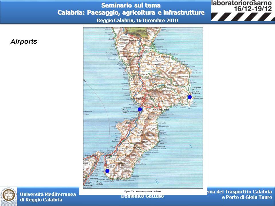 Seminario sul tema Calabria: Paesaggio, agricoltura e infrastrutture Reggio Calabria, 16 Dicembre 2010 Domenico Gattuso Sistema dei Trasporti in Calabria e Porto di Gioia Tauro Università Mediterranea di Reggio Calabria (Fonte R&D.Log)