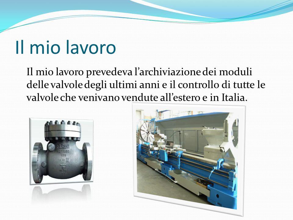 Il mio lavoro Il mio lavoro prevedeva larchiviazione dei moduli delle valvole degli ultimi anni e il controllo di tutte le valvole che venivano vendute allestero e in Italia.