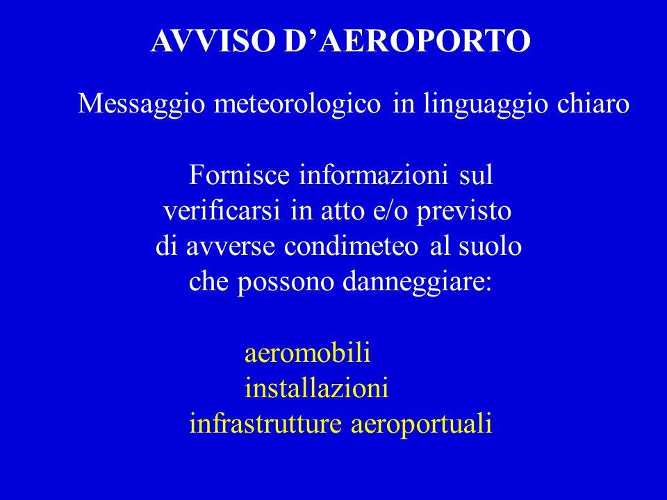 Messaggio meteorologico in linguaggio chiaro Fornisce informazioni sul verificarsi in atto e/o previsto di avverse condimeteo al suolo che possono dan