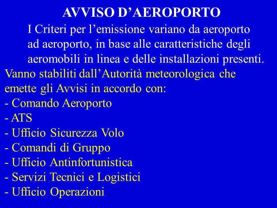 I Criteri per lemissione variano da aeroporto ad aeroporto, in base alle caratteristiche degli aeromobili in linea e delle installazioni presenti. Van