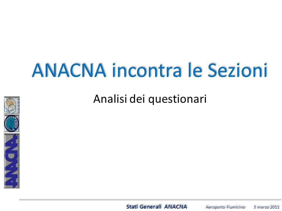 Stati Generali ANACNA Aeroporto Fiumicino 3 marzo 2011 ANACNA incontra le Sezioni Analisi dei questionari