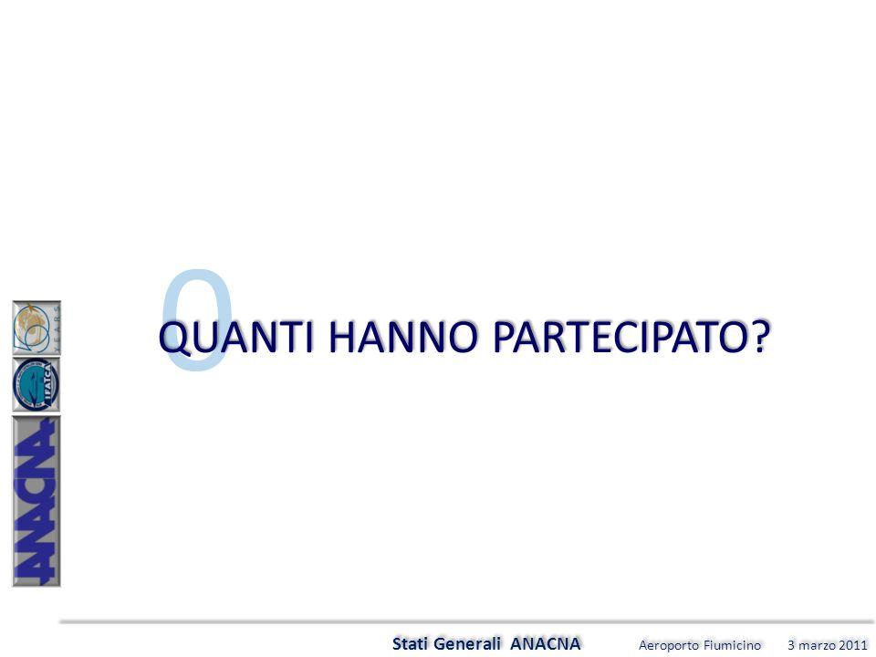 0 Stati Generali ANACNA Aeroporto Fiumicino 3 marzo 2011 QUANTI HANNO PARTECIPATO