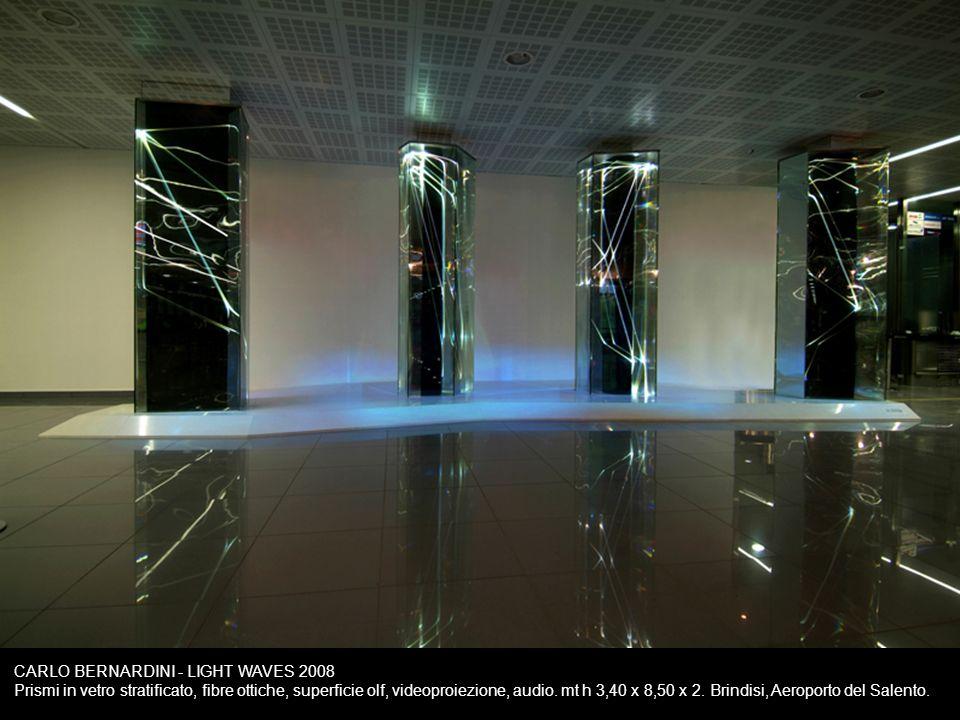 CARLO BERNARDINI - LIGHT WAVES 2008 Prismi in vetro stratificato, fibre ottiche, superficie olf, videoproiezione, audio.