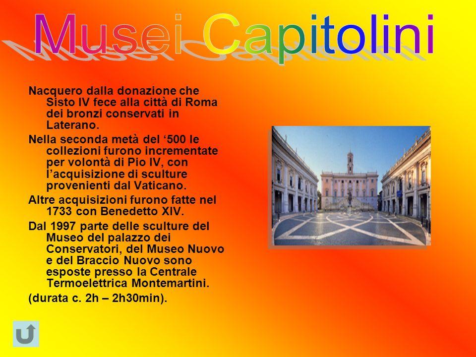 Nacquero dalla donazione che Sisto IV fece alla città di Roma dei bronzi conservati in Laterano.