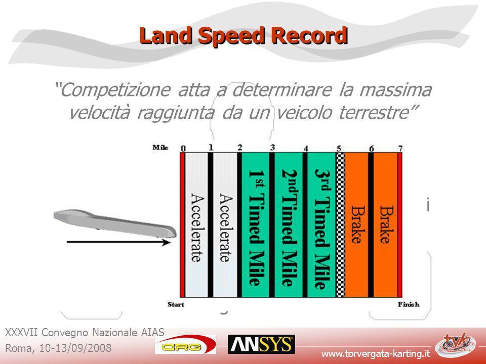 www.torvergata-karting.it XXXVII Convegno Nazionale AIAS Roma, 10-13/09/2008 Land Speed Record Competizione atta a determinare la massima velocità raggiunta da un veicolo terrestre Esistono specifici regolamenti che definiscono: -Le classi di appartenenza dei veicoli che vi partecipano; -I vincoli e le misure di sicurezza da rispettare; -Le modalità di svolgimento.
