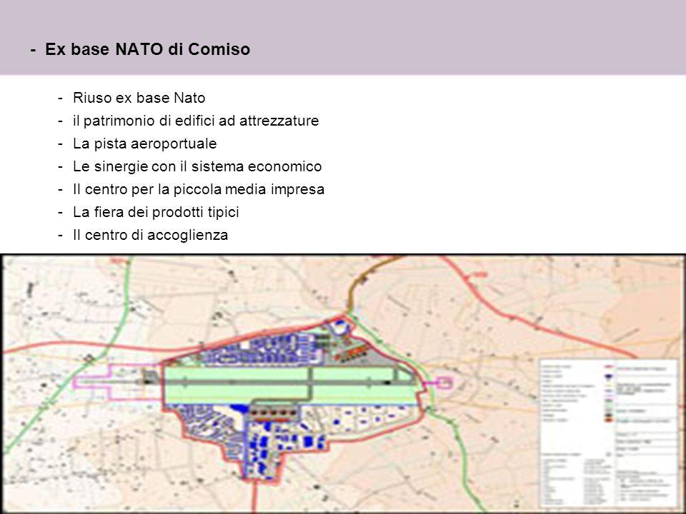 13 - Ex base NATO di Comiso -Riuso ex base Nato -il patrimonio di edifici ad attrezzature -La pista aeroportuale -Le sinergie con il sistema economico