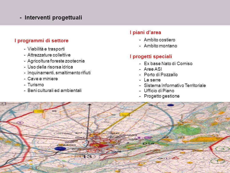 2 - Interventi progettuali I programmi di settore -Viabilità e trasporti -Attrezzature collettive -Agricoltura foreste zootecnia -Uso della risorsa id