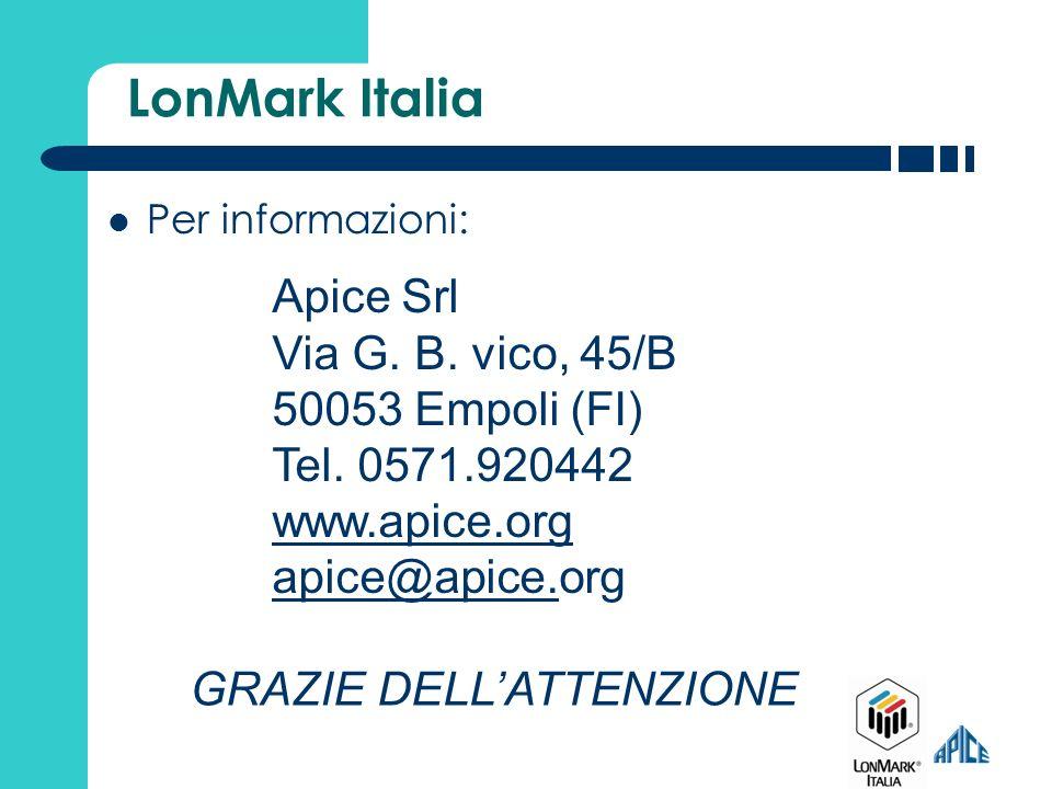 LonMark Italia Per informazioni: Apice Srl Via G. B. vico, 45/B 50053 Empoli (FI) Tel. 0571.920442 www.apice.org apice@apice.apice@apice.org GRAZIE DE