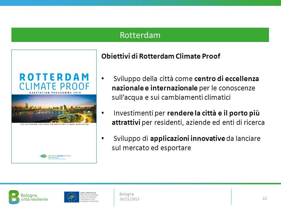 Obiettivi di Rotterdam Climate Proof Sviluppo della città come centro di eccellenza nazionale e internazionale per le conoscenze sullacqua e sui cambi