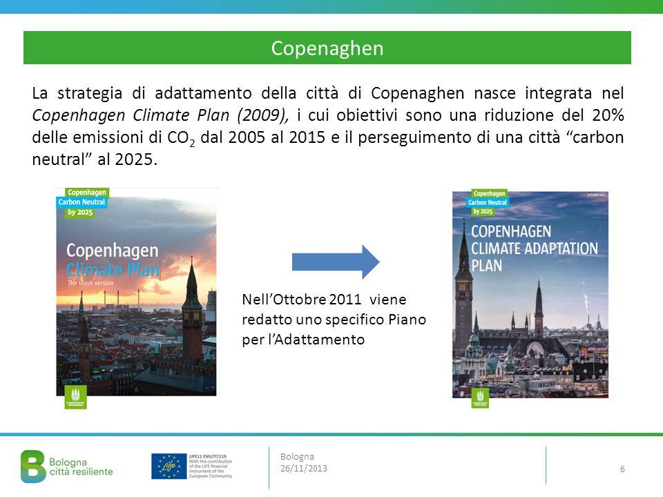 La strategia di adattamento della città di Copenaghen nasce integrata nel Copenhagen Climate Plan (2009), i cui obiettivi sono una riduzione del 20% d