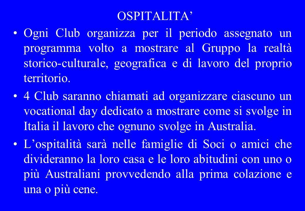 OSPITALITA Ogni Club organizza per il periodo assegnato un programma volto a mostrare al Gruppo la realtà storico-culturale, geografica e di lavoro de