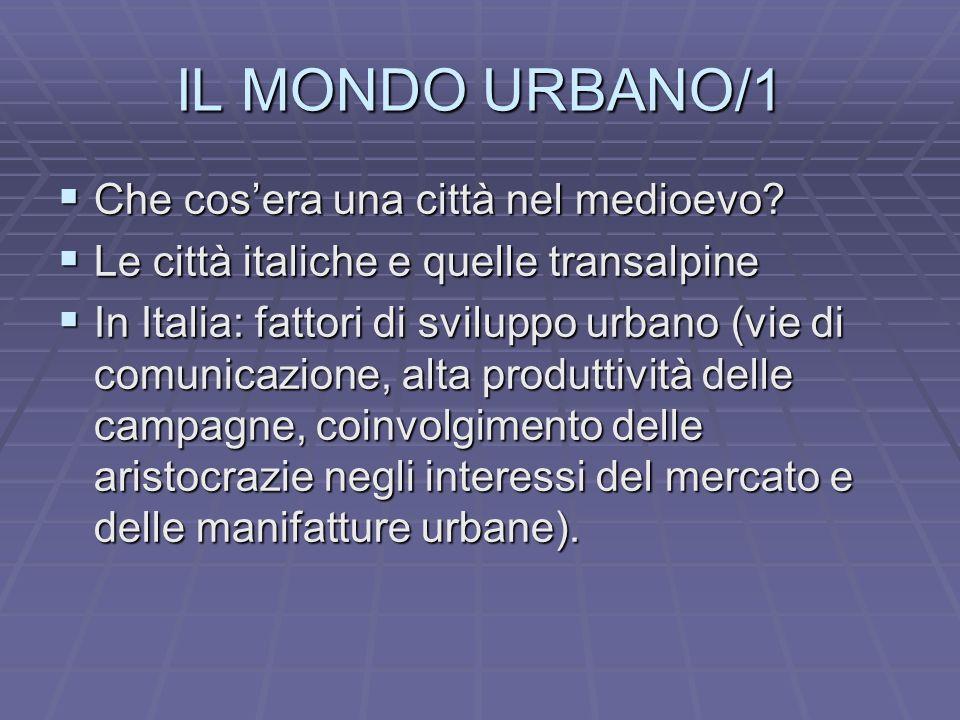 IL MONDO URBANO/1 Che cosera una città nel medioevo.