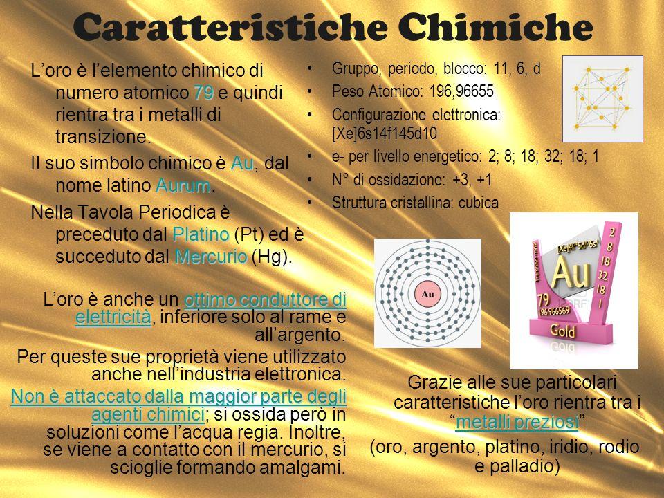 Caratteristiche Chimiche 79 Loro è lelemento chimico di numero atomico 79 e quindi rientra tra i metalli di transizione. Au Aurum Il suo simbolo chimi