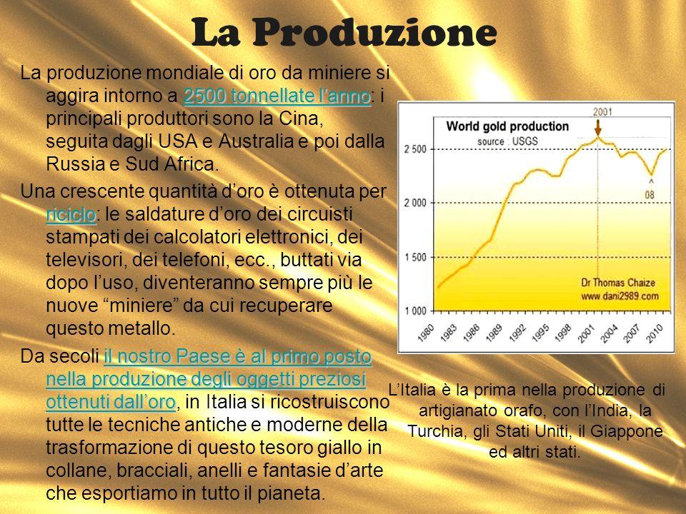 La Produzione 2500 tonnellate lanno La produzione mondiale di oro da miniere si aggira intorno a 2500 tonnellate lanno: i principali produttori sono l