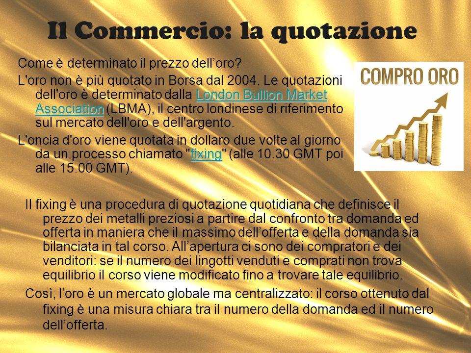 Il Commercio: la quotazione Il fixing è una procedura di quotazione quotidiana che definisce il prezzo dei metalli preziosi a partire dal confronto tr