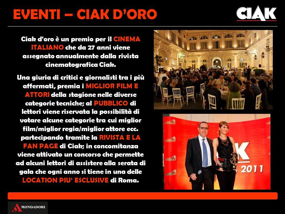 Ciak d'oro è un premio per il CINEMA ITALIANO che da 27 anni viene assegnato annualmente dalla rivista cinematografica Ciak. Una giuria di critici e g