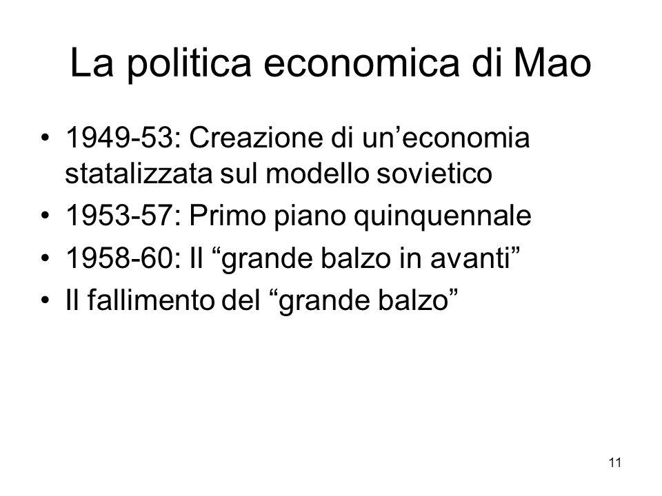 11 La politica economica di Mao 1949-53: Creazione di uneconomia statalizzata sul modello sovietico 1953-57: Primo piano quinquennale 1958-60: Il gran