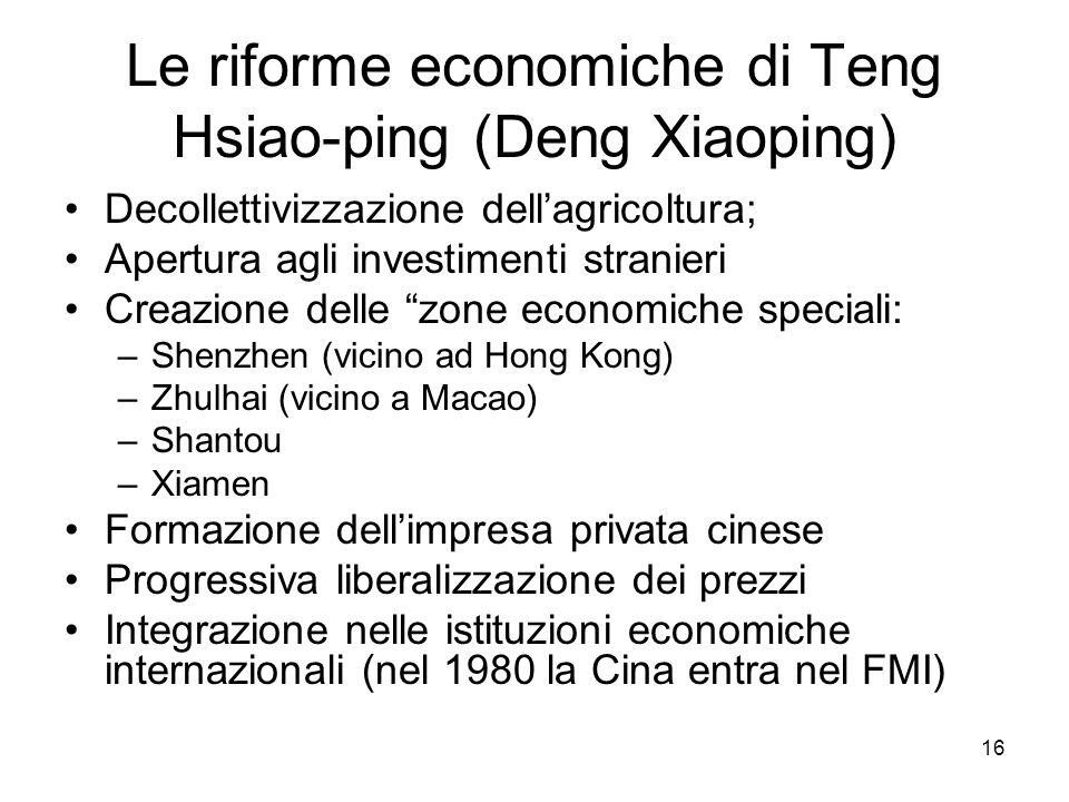 16 Le riforme economiche di Teng Hsiao-ping (Deng Xiaoping) Decollettivizzazione dellagricoltura; Apertura agli investimenti stranieri Creazione delle